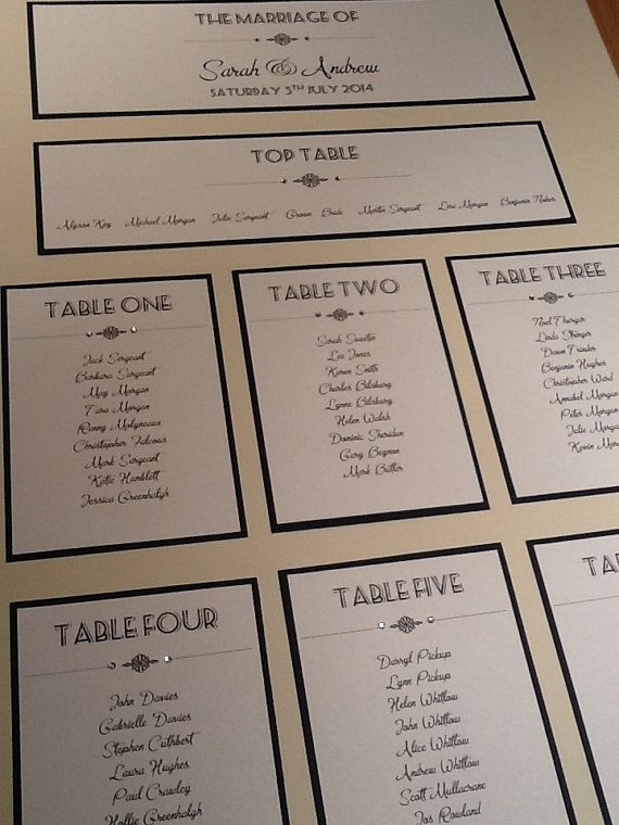 a2 sized art deco style wedding table plan handmade personalised on etsy 2895