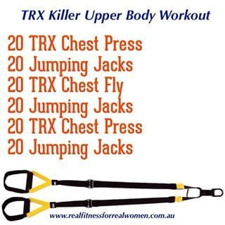 TRX suspension training is AMAZING! Perfect tool for fitness, toning, strength, core, cardio and flexibility. Repeat this circuit twice then do the lower body circuit!!!!! Have fun
