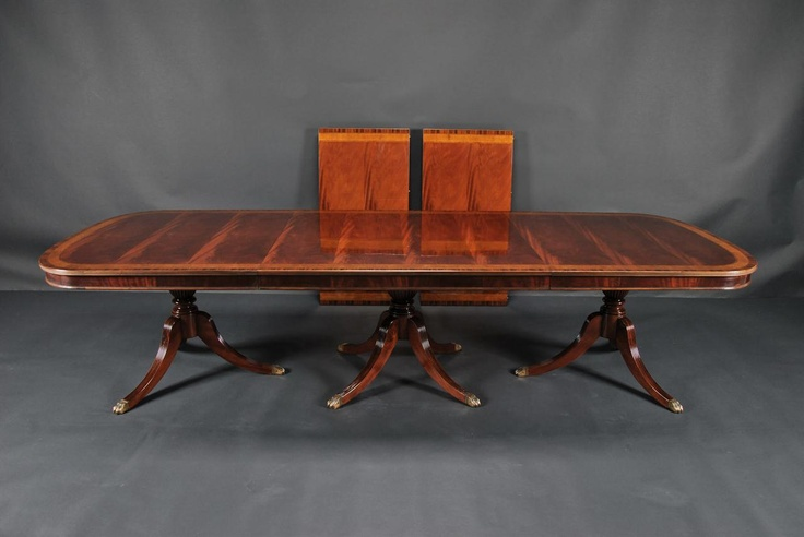 Mahogany Duncan Phyfe Triple Pedastal Dining Room Table