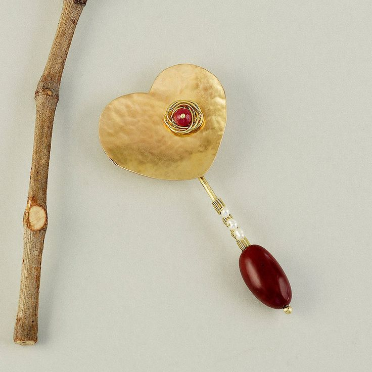 Gold heart brooch, Valentines jewelry, tagua long brooch, garnet jade jewelry, bold beaded pin, chunky pin, big hammered  jewelry by ColorLatinoJewelry on Etsy