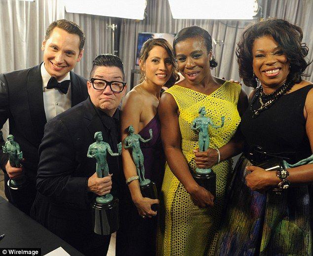 What a cast: Matt McGorry, Lea, Elizabeth Rodriguez, Uzo and Lorraine Toussaint posed backstage