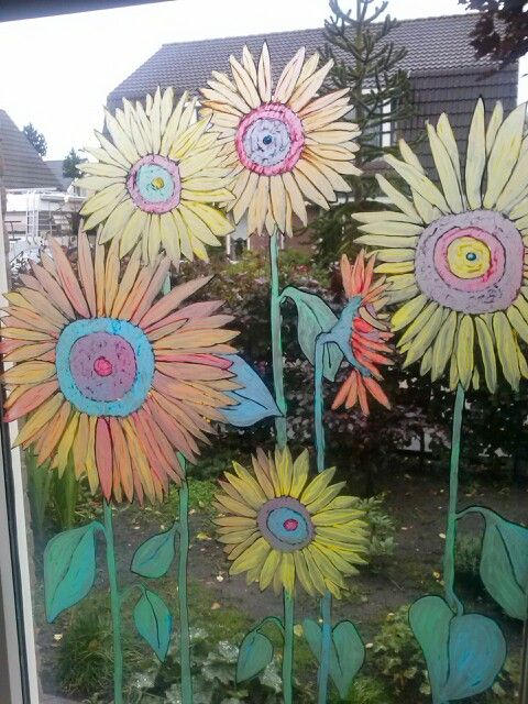 Window painting sunflowers