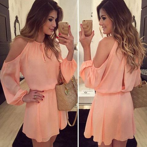 Pink Off Shoulder Chiffon Women Mini Dress | Daisy Dress for Less | Women's Dresses & Accessories
