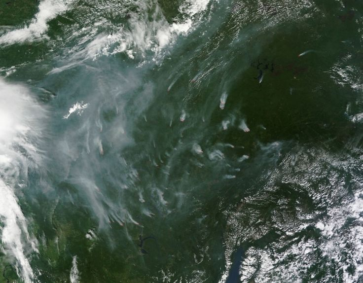 Fires continued to fill the skies with smoke near Lake Baikal, Russia in July, 2014.