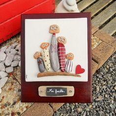 """Tableau """"ma famille"""" en bois flotté sur toile"""