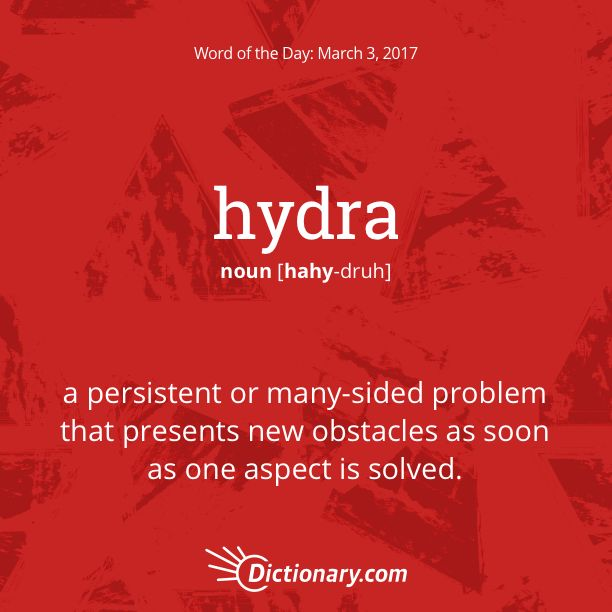 Dictionary.com's Word of the Day - hydra - a persistent or many-sided problem that presents new obstacles as soon as one aspect is solved.