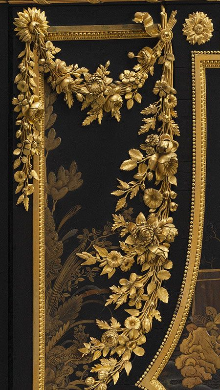 Antique Louis XVI secretary, 1783 ~ by Jean Henri Riesener (French, 1734–1806). Oak veneered with ebony, black and gold Japanese lacquer, tulipwood, holly and black stained holly, amaranth, gilt-bronze mounts, white marble -- made for Queen Marie Antoinette at Versailles. [4th of four pins]
