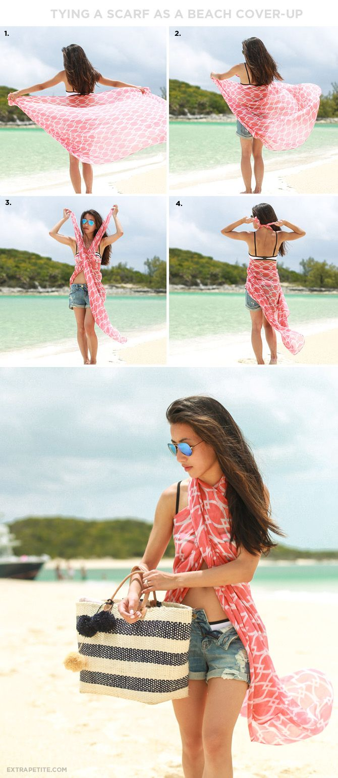 Vacation outfit: how to tie a printed scarf as a beach / pool cover up top