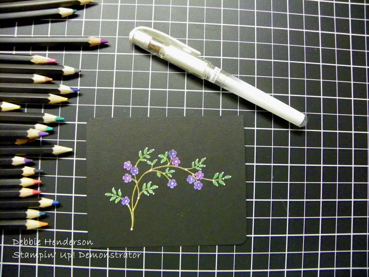 Black Magic Stamping Technique & Tutorial use white craft ink, let dry completely then use colored pencils