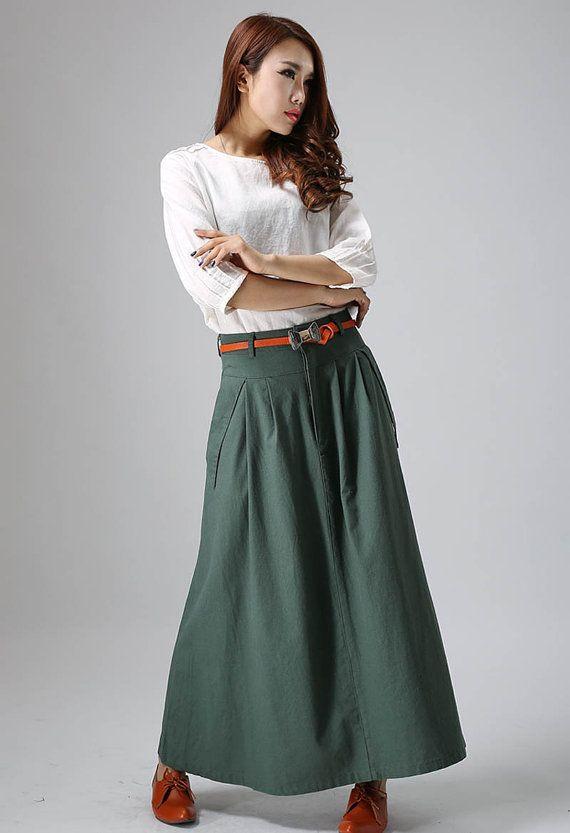 linen skirt, maxi skirt, green skirt, casual skirt, womens long skirts, pleated skirt, custom skirt, skirt with pockets, summer skirt  813