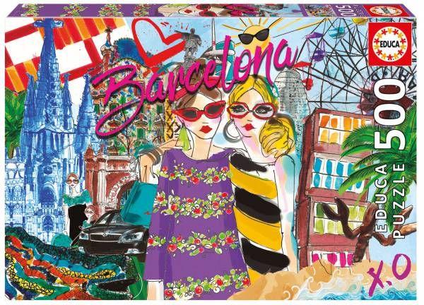 Levame a Barcelona Chic world EDUCA  Puzzle de chicas fashion en Barcelona con Gaudi, Sagrada familia, Montjuic, Arco de triunfo.  Medida 34x48 cmts  llevame a BARCELONA CHIC WORLD  500 Piezas Encuéntralo en puzzlemania.net