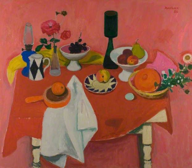 Still Life on Red Cloth, 1986 by Alberto Morrocco (1917-1998)