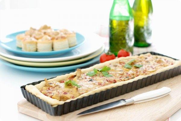 Tarta salada de bacon, jamón y setas   Velocidad Cuchara