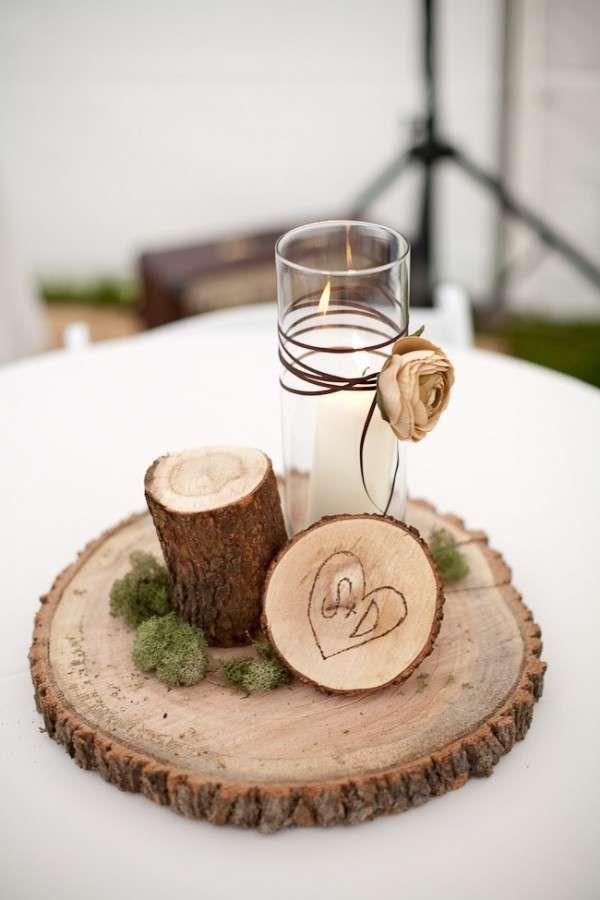 Centrotavola in legno per il matrimonio - Centrotavola con candela