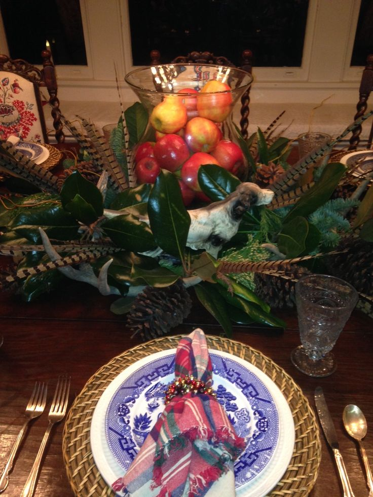 Blue willow at christmas table settings