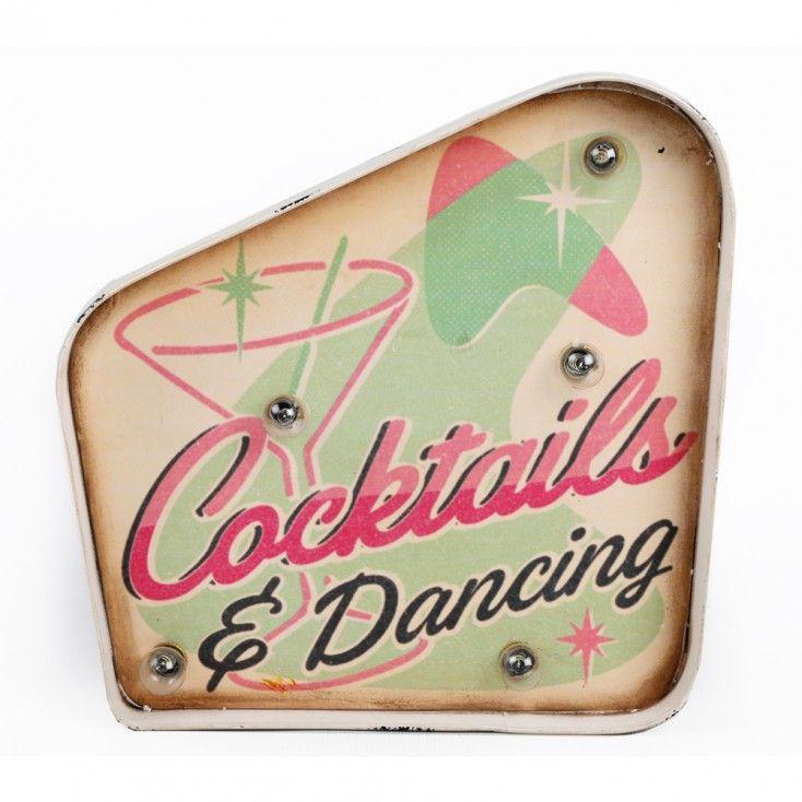 Enseigne lumineuse Cocktails lampe originale motif pastel retro miami tendance deco tropicale temerity jones howne