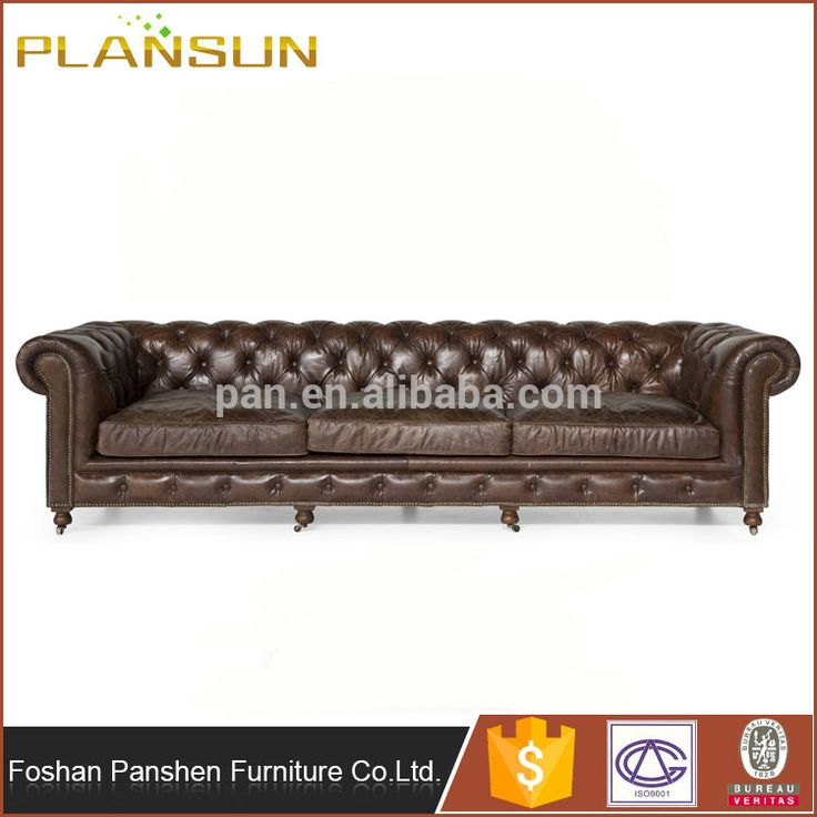 wholesale European style Ace Industrial Loft Brown Leather Tufted Deep Seat Sofa