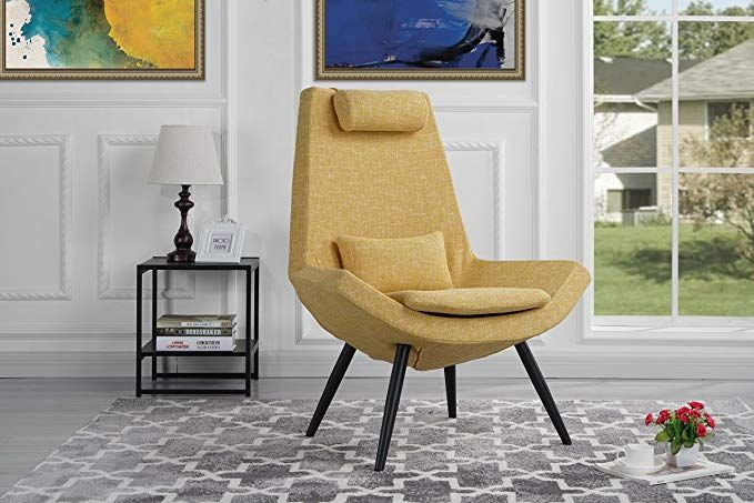 Modern Contemporary Linen Fabric Living Room Accent Chair Yellow