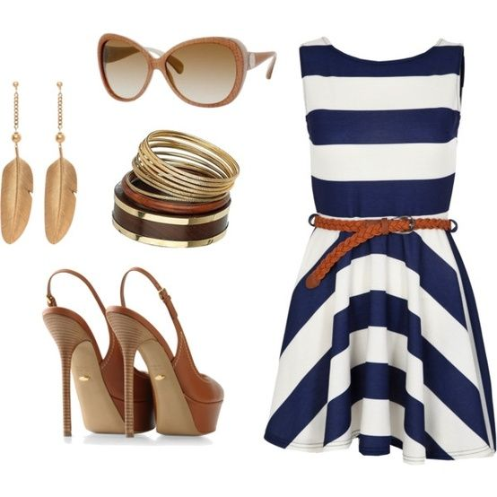 Navy & white dress with brown/gold accesories.