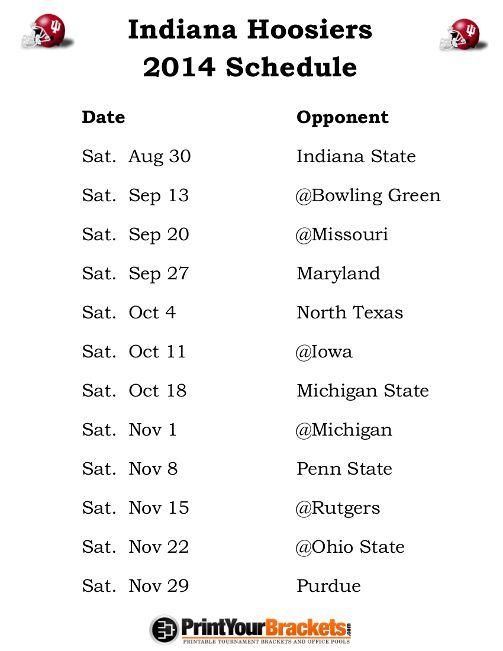 Printable Indiana Hoosiers Football Schedule 2014
