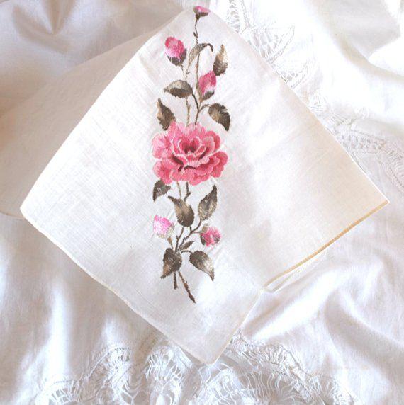 Handkerchiefs 20 Wedding Roses 2 x 10 White Roses Wedding//Wedding//Roses//Motif Handkerchiefs