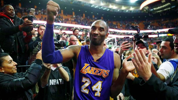 #NBA  Los Angeles Lakers' Kobe Bryant acknowledges the fans  as he walks of the court in Boston after the Lakers' 112-104 win over the Boston Celtics in an NBA basketball game Wednesday, Dec. 30, 2015. (AP Photo/Winslow Townson)