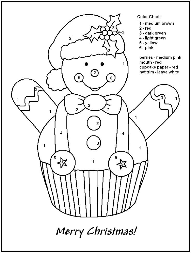 Christmas+Color+by+Number+Coloring+Pages | Color by number Christmas gingerbread coloring page