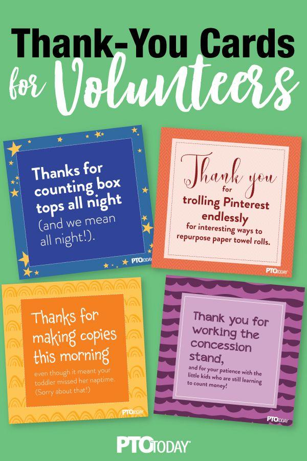 Thank You Cards For School Volunteers School Volunteer Thanks