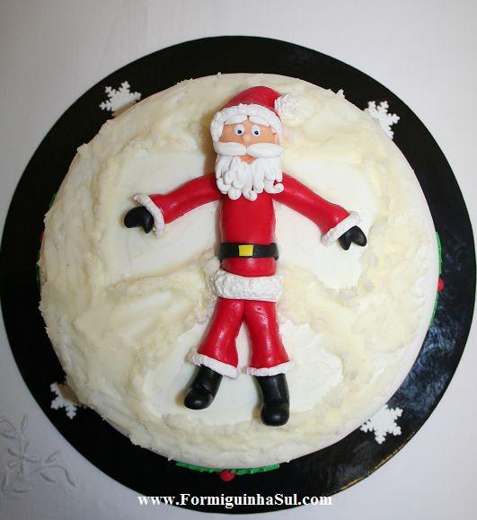 O Pai Natal a fazer um anjo na neve!