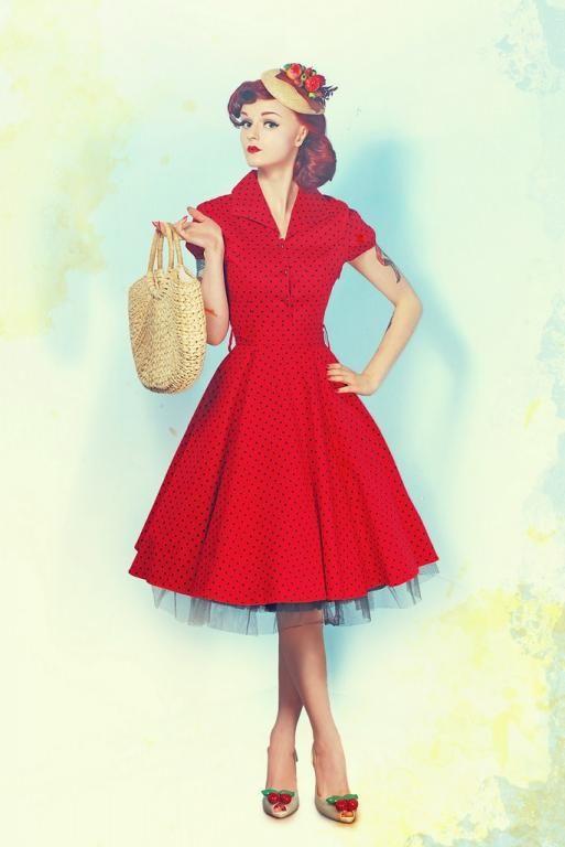 Stylowa sukienka Retro z rękawem grochy 40