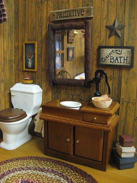 Dollhouse COUNTRY BATH Primitive | Primitive country ... on Rustic:s9Dkpzirpk8= Farmhouse Bathroom  id=93927