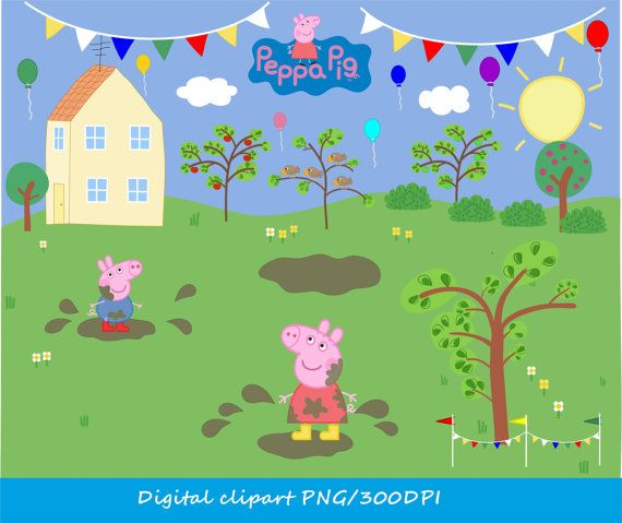 2-YS / Digital Peppa Pig clip art / png / Peppa Pig's House  /  Peppa pig in muddy puddle / pigs vector clipart  /  instant download