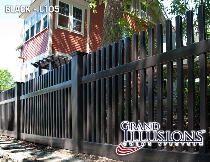 Need a black vinyl PVC picket fence? This terrific photo shows how comfortable this fencing panel fits in for that cozy New England or San Francisco styled look. Available in 35 colors and authentic wood grains as well.