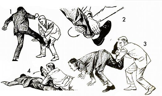 Defense Against Kick Aimed at Face or Stomach: Trap the thug's foot by bending your knees and crossing your hands in front of you (fig. 1). As the kicker's shin contacts your wrists, turn your left hand (fig. 2) so that you have a firm hold around his calf. Assuming that the kicker uses his right leg, spin around to your right, throwing him forward on his face (fig. 3). Once thrown, follow up going down on the ground with him. In the final position (fig. 4), your left forearm is behind h