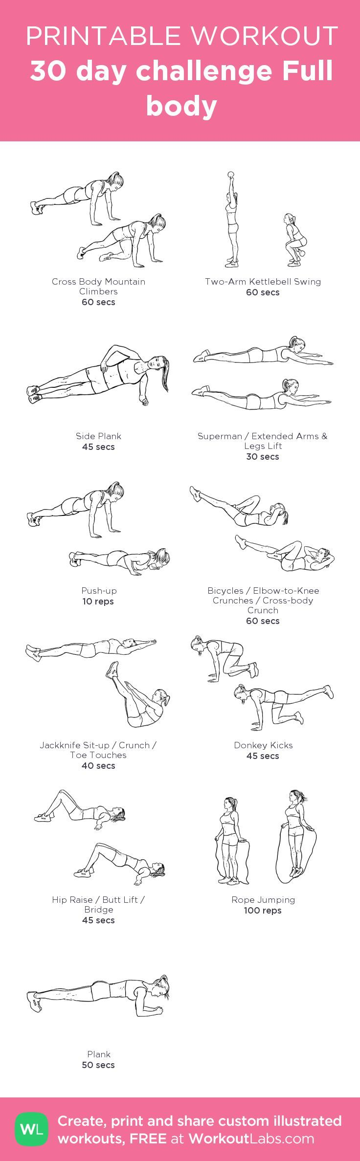 30 Day Full Body Workout! Perfect for getting into shape in the summertime!