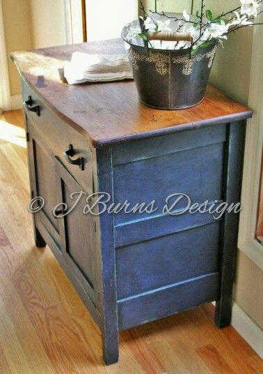 Antique wash stand refinished with CeCe Caldwell Paints Alaskan Tundra Green, Newport Navy, Pure Tung Oil www.facebook.com/jburnsdesign