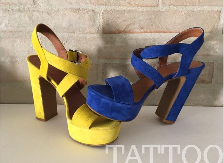 COLLEZIONE TATTOO P/E  #tattooshoes#tattoopinto #pintocollection  Scarpe blu e gialle con tacchi bellissimi!  Blue and Yellow shoes with beautiful hells!