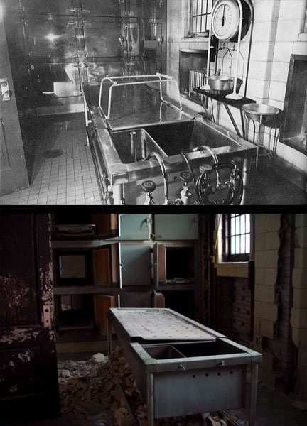 Autopsy Room (Before And After) - Photo of the Abandoned Pilgrim State Hospital