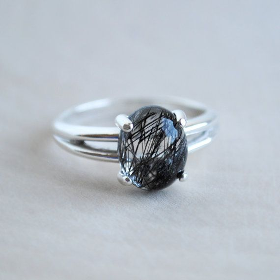 Tourmalinated Quartz Ring Black Rutilated by SongYeeDesigns