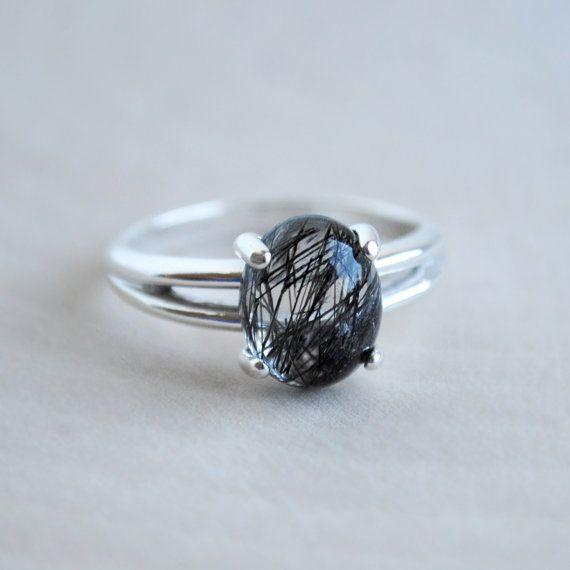 Tourmalinated Quartz Ring - Black Rutilated Quartz Ring - Oval Sterling Silver Ring