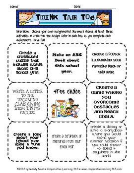 Use this Think-Tac-Toe as a culminating activity to your school year.  Students have a chance to reflect on their school year, come up with ways to...