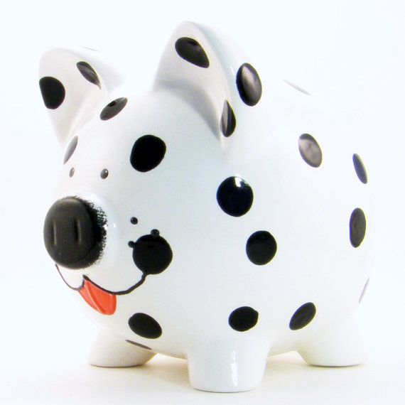 Dalmation Dog Piggy Bank Personalized Piggy Bank by ThePigPen