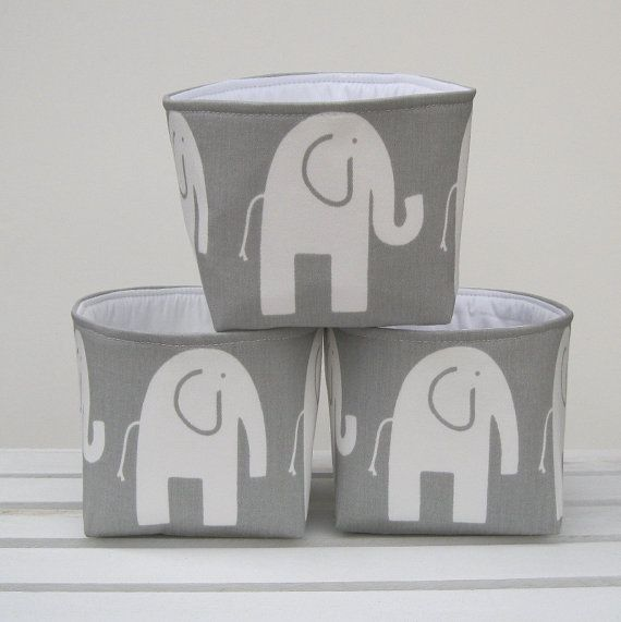 Mini Stoff Lagerplätze Container Organizer  Set 3  weiße Ele