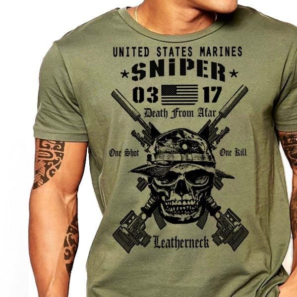 Military Sniper T-Shirt Army Navy Marines Special Forces Rangers Infantry Tee