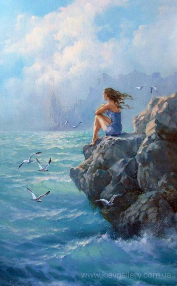 Dream - Tokar Natalia. Woman sitting on the sea-cliff. Such a refreshing painting!