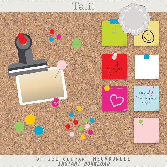 Office CLIPART Megabundle- 122 clip art PNG files of post-its, clips, pins, pushpins, with a cork board background paper in bright colors