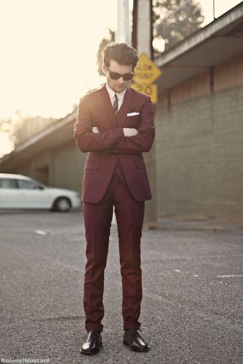 I really like burgundy suits. I have no idea why.