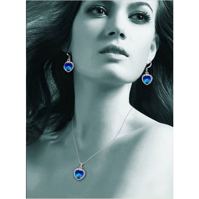 Set of Ocean Heart Crystal Embedded with Imitation Diamond Necklace & Earring