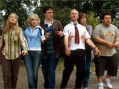 """Shaun Of The Dead - directed by Edgar Wright.... """"Come and get it! It's a running buffet!"""" ... <3"""