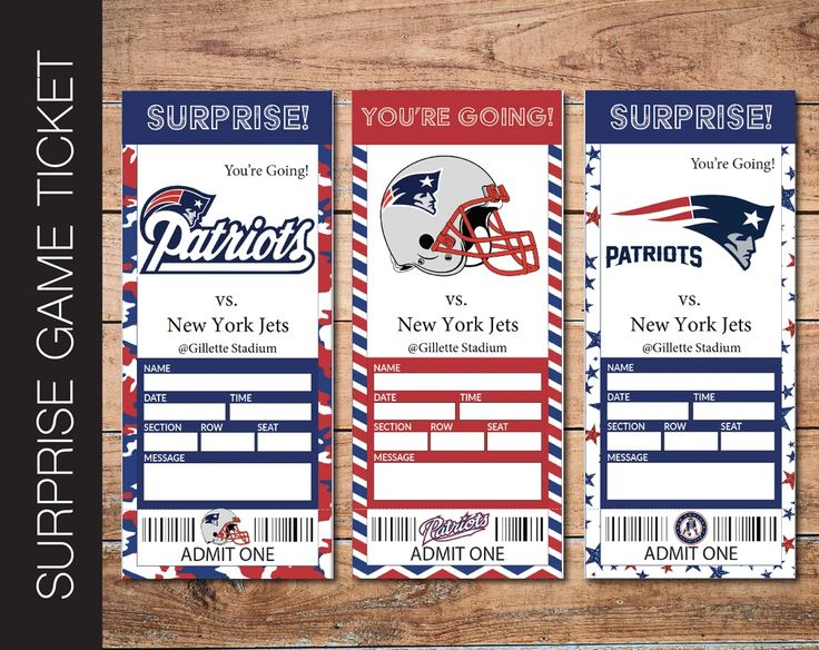 Printable New England Patriots NFL Football Game Gift